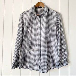 Animale Shirt 6 Button Front Gray Check